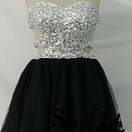 Short Homecoming Dress,Sparkly homecoming dress,homecoming dress with strapless,open back homecoming dress,mini homecoming dress,short prom dressPD008215