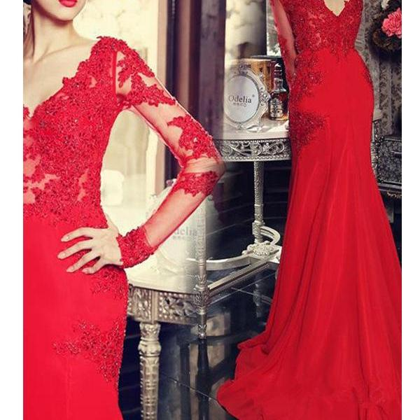 Long Custom prom dress, Sexy Prom dress, Mermaid Prom dress, Prom Dress with long sleeves, Sweep Train Prom Dresses With Lace Appliques,Evening Party Dresses. PD0121100