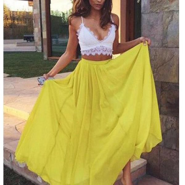 Long Custom prom dress,Two Piece Prom dress, Sweetheart prom dress, Yellow Chiffon prom dress, Lace Prom Dresses ,prom dress,Prom Gowns. PD0121112